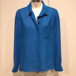 Tops - Teal Blue Button Down Blouse Career S