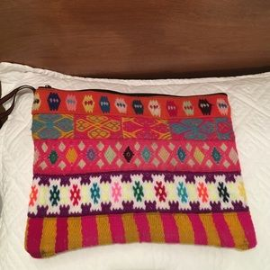 Handbags - Peruvian hand woven neon clutch bag