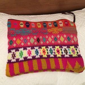 Bags - Peruvian hand woven neon clutch bag