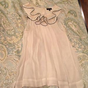 Topshop white zipper & ruffles top