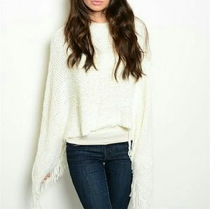 Sweaters - Classy and Chic Cream knitted poncho