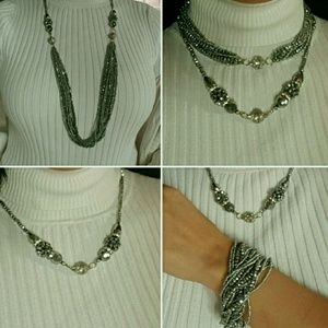 Jewelry - Silver beaded magnetic necklace set with earrings
