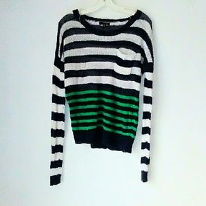 Timing Sweaters - Timing Striped Linen Sweater