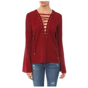 • Endless Rose Bell sleeve lace up top size S •