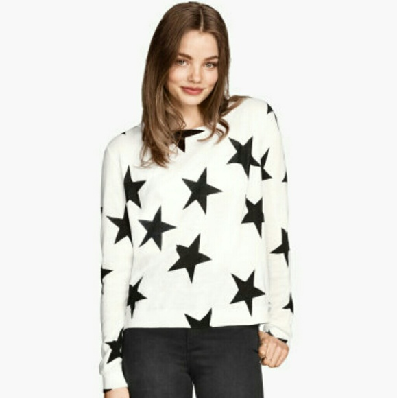 d61ff582dd81 H M Fine Knit Jumper Black White Stars
