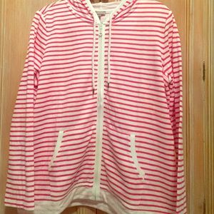 NWT Talbots Pink and White Striped Zip Up