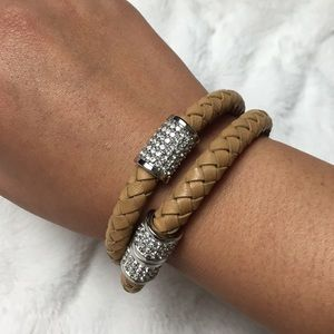MICHAEL KORS Double Wrap Braided Leather Bracelet