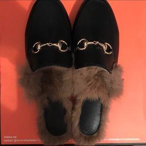 Fur Slide Faux Leather Loafer
