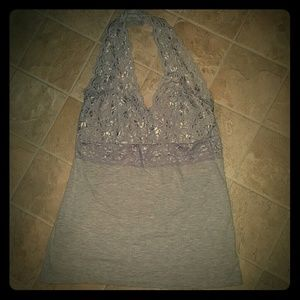 H H Tops - Sexy Gray with Lace Halter Top Juniors XL