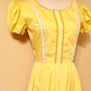 ⬇️Vintage Yellow Cotton Dress, Western Cowgirl