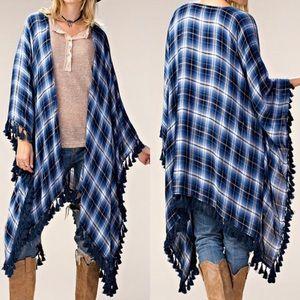 Sweaters - ❤HP❤Plaid Kimono DENIM BLUE