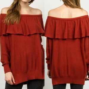 Sweaters - Knit Off The Shoulder Sweater BRICK