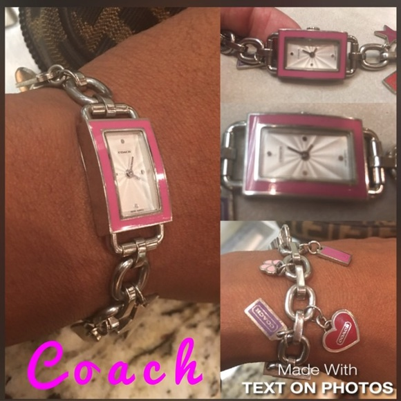 Coach Accessories Pink Charm Bracelet Watch With Hook Closure