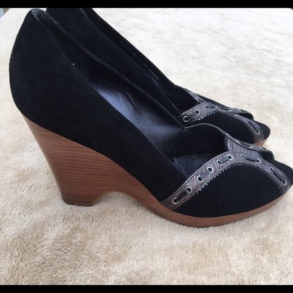 b4f91c095af6 Cole Haan Shoes - Cole Haan Jaynie Black Suede Wedges Open-toe