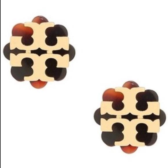 eeb116c35 Tory Burch Jewelry | Logo Flower Resin Stud Earrings | Poshmark