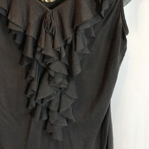Express Tops - Express Charcoal Gray Sleeveless Ruffle Blouse S