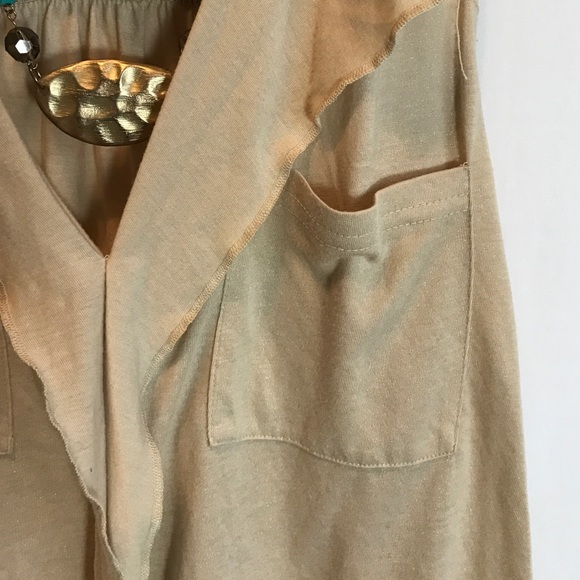 Decree Tops - Decree Shimmery Gold Beige Ruffle Blouse Small