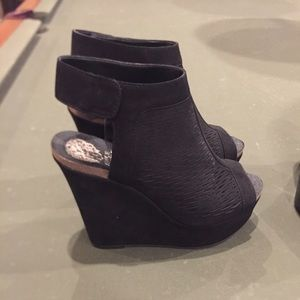 Vince Camuto black wedges.