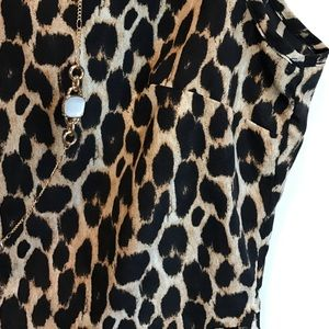 Ali & Kris Tops - Ali & Kris Black and Tan leopard print peplum top