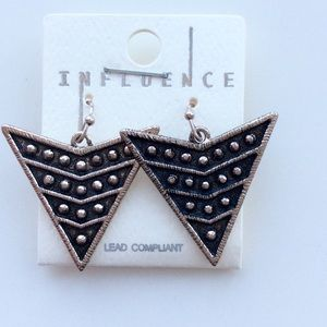 Dangling Arrow Studded Earrings