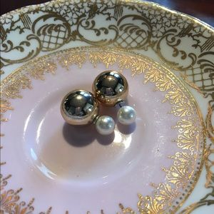 ily Couture Dual Pearl Earrings - Rose Gold