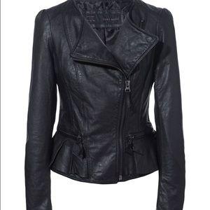 🎉SALE🎉Zara Black Real Leather Peplum Jacket