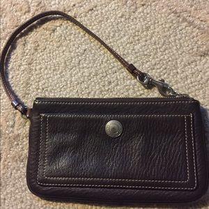 Coach Handbags - Vintage COACH Brown Leather Wristlet