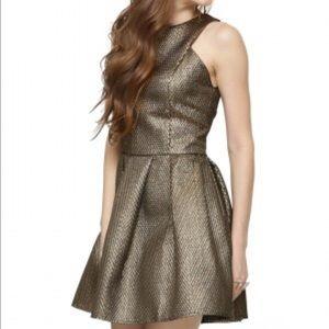 Fashion Union Dresses & Skirts - Fashion Union Gold Metallic Fit & Flare Dress