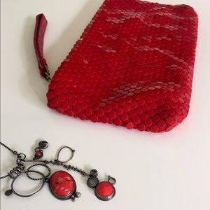 La Regale Handbags - Hot red clutch purse with rad plastic tiles.