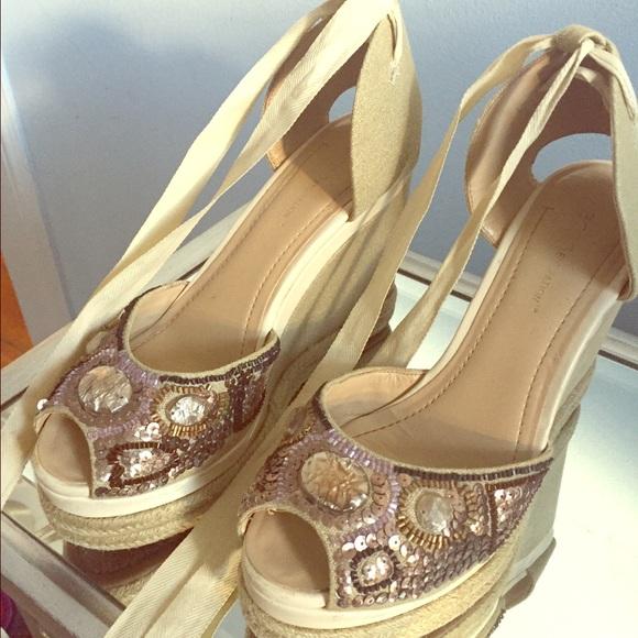 443d7a15458 BCBG Shoes - BCBG beaded sequin lace up espadrille wedges 💁🏼