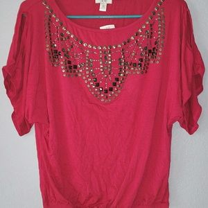 Cache Red Embellished Top - Perfect for Fall!