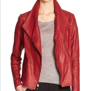 VINCE Scuba Red Leather Jacket