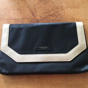 Lanvin Handbags - NWOT Lanvin Black & Gold Leather Fold Over Clutch