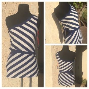 One Shoulder Striped Top With Side Cutout