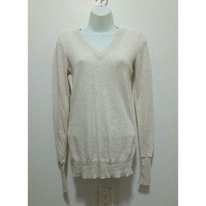 Lilu Sweaters - Lilu lux yarn off-white V-neck sweater