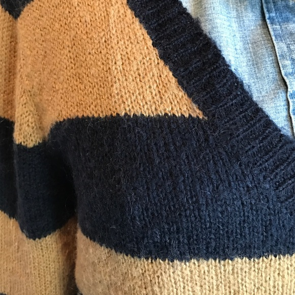 J. Crew Sweaters - J.Crew navy and beige striped wool sweater sz. M
