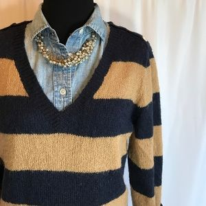 J.Crew navy and beige striped wool sweater sz. M