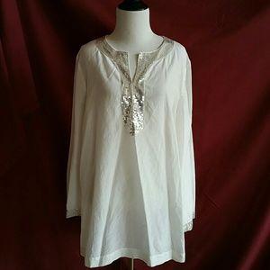 Alfani Tops - Alfani Size 16W White Silver Sequin Blouse Silk