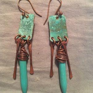Jewelry - Handmade Copper Turquoise Earrings