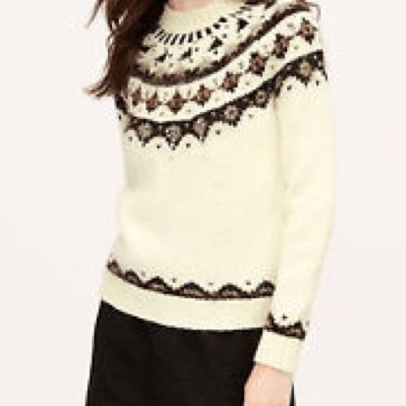 62% off LOFT Sweaters - |Ann Taylor LOFT| Embellished Fair Isle ...