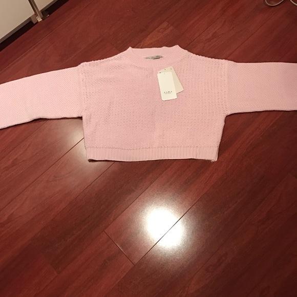 651fa53ac1878 Zara pink oversized knit crop top💫 NWT