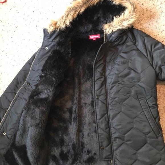 Hooded leather parka supreme