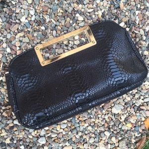 Cato Handbags - Black Clutch with Gold Handle-Faux Snakeskin