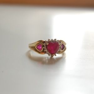 Jewelry - SOLD!! - Heart Shaped Ruby Gold Ring w/ Diamonds