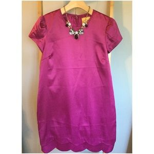 Magenta Elegant Dress with Scallop Hem