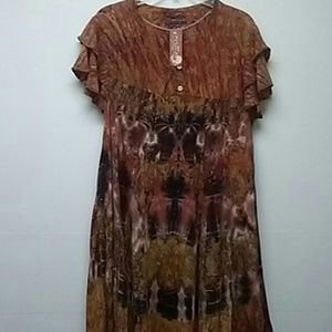 1pc rustic dress w 3 button front