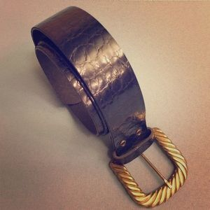 Accessories - Navy Blue Belt Gold Hardware Faux Reptile Leather