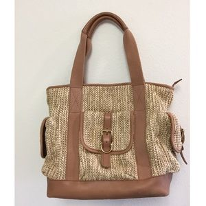 Fossil overnight leather & straw bag