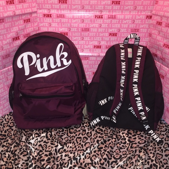 Pink Victoria S Secret Vs Black Orchid Campus Backpack 43bb0f0e47e22