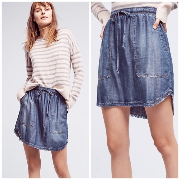 Anthropologie Skirts - Cloth&stone High-low Chambray Mini Skirt